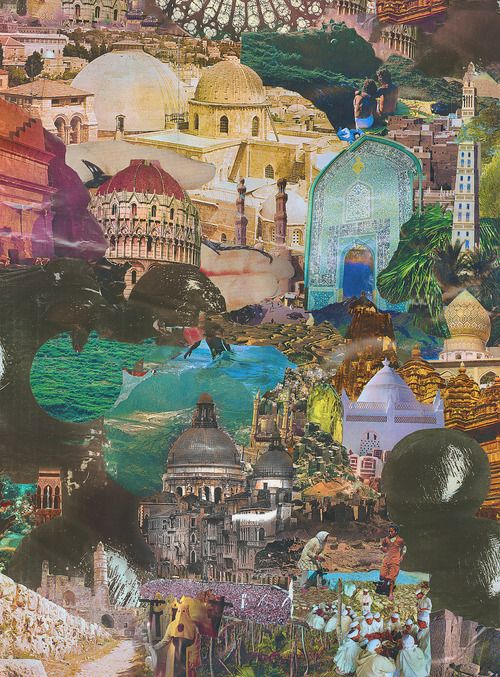 ExcitingArt Things, Ideas, Travel Collage, Collage Photomontage, Inspiration, Art Journals, Buildings, Beautiful Landscapes, World Travel