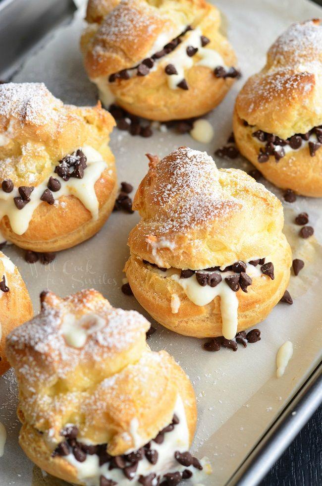 Cannoli Choux Pastry (Cream Puffs) | from willcookforsmiles.com #dessert #pastry #cream