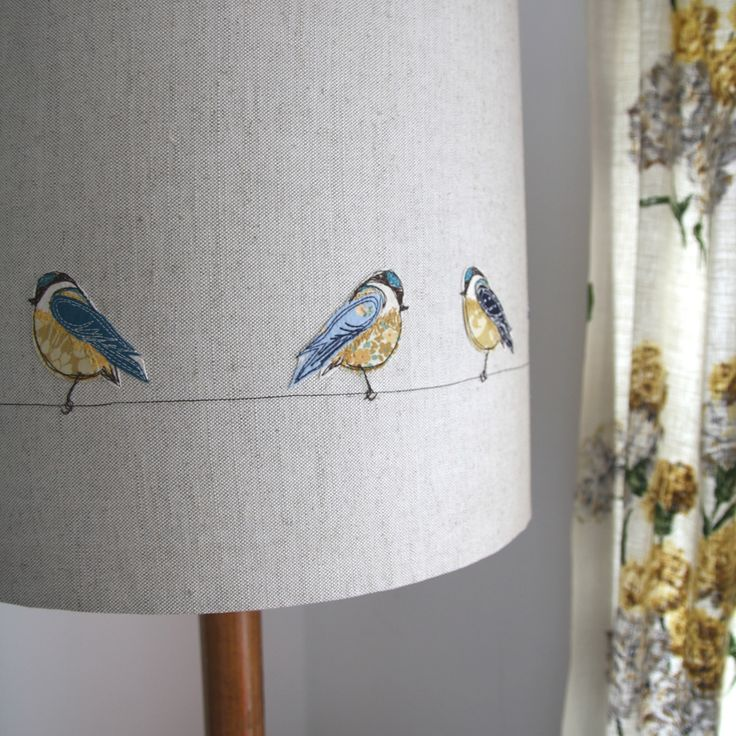 Our largest standard lampshade yet featuring DearEmmadesigns machine embroidered blue-tits
