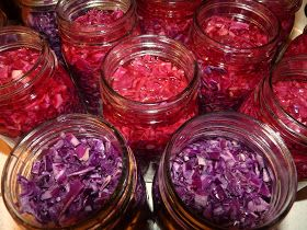 Pickled Red Cabbage Recipe (2 small cabbages, salt, cider vinegar, cloves, nutmeg, bay leaves, pickling spice, sugar)