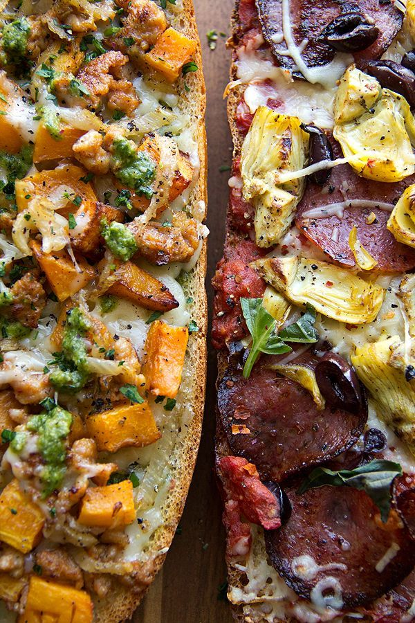 Spicy Italian Ciabatta Pizza with Crispy Salami, Fried Artichokes and Fiery Marinara and Fall Vegetable French Bread Pizza with Butternut Squash, Sweet Italian Chicken Sausage and Parsley-Sage Pesto