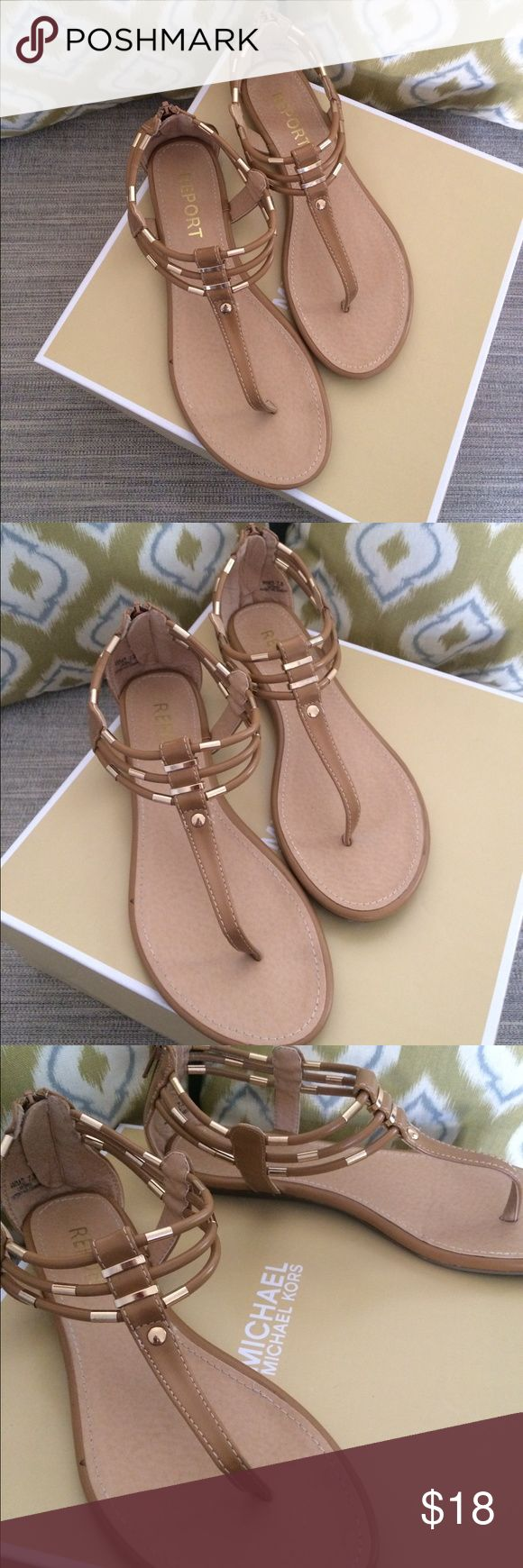 Beige Sandals w/ Gold Hardware Beige sandals in excellent condition!! Practically new and literally only used for a few hours. Embellished with gold hardware and zips up back. Purchased from Nordstrom Rack. Report Shoes