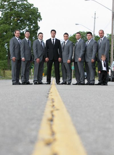 Groomsmen - Skinny Ties  Grey Suits and Groom in Black