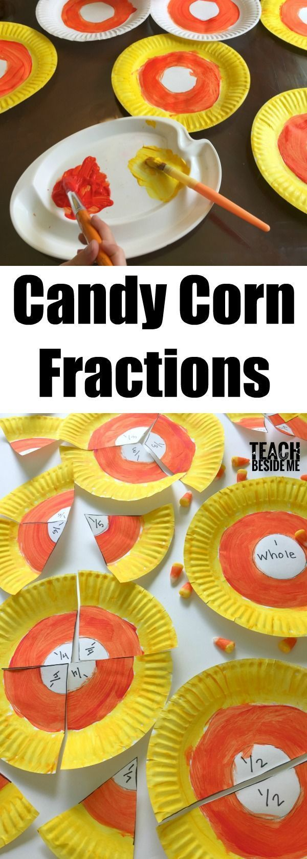 halloween Math- paper plate candy corn fractions