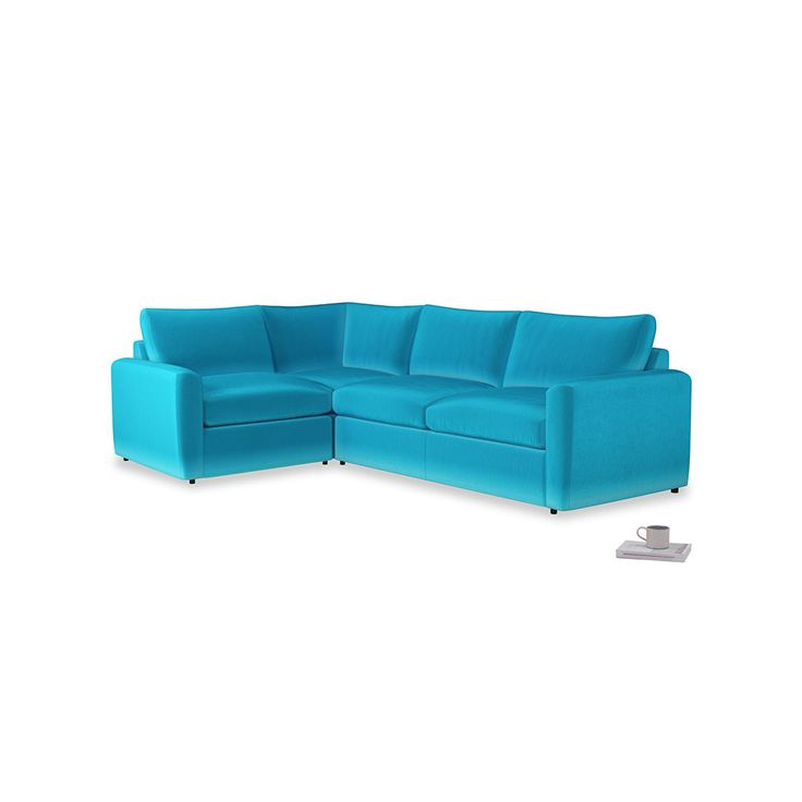 Large Left Hand Chatnap Modular Corner Sofa Bed in Azure Plush Velvet with arms--I like this sofa with the ottoman and it has a sofa bed in it. I also chose this colour because I like it, though wouldn't  have to be on the sofa, could be a wall, etc.