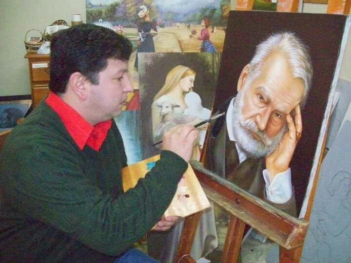Euzebio Denner pintando retrato de Victor Hugo .