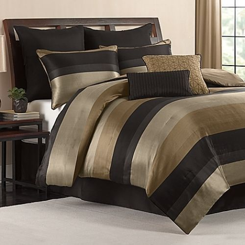 King Size Comforter Set Black Gold Tan Satin Finish 8 Piece Bedroom Bedding  NEW