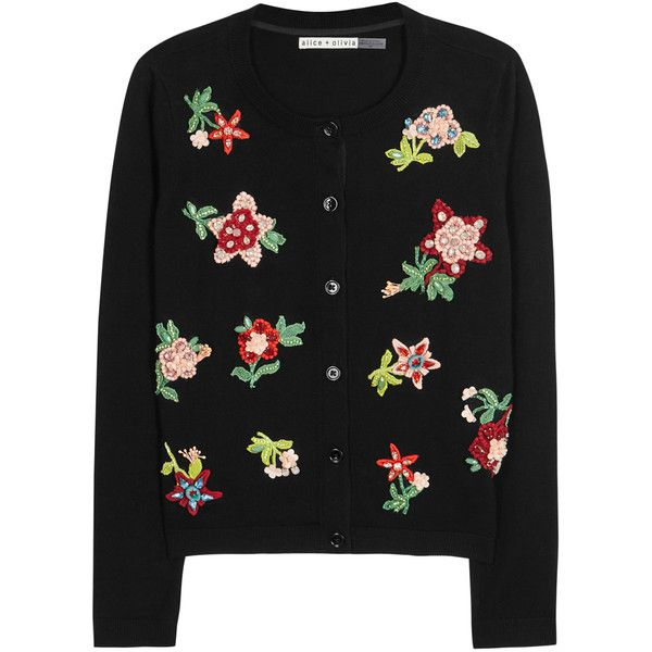 Alice + Olivia Ruthy appliquéd cotton blend cardigan (1,130 BAM) ❤ liked on Polyvore featuring tops, cardigans, beaded top, floral print tops, floral tops, cardigan top and flower print cardigan
