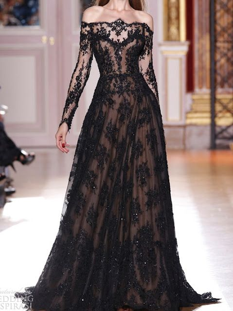 Zuhair Murad - lace off the shoulder gown---if I could have this in white, this would be my wedding dress