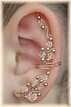I fell like I gotta have it! Ear Cuff The Cadillac AB Crystal and 14K Gold by ChapmanJewelry, $72.00