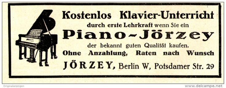 Original-Werbung/ Anzeige 1928 - PIANO JÖRZEY - BERLIN  - ca. 100 x 35 mm