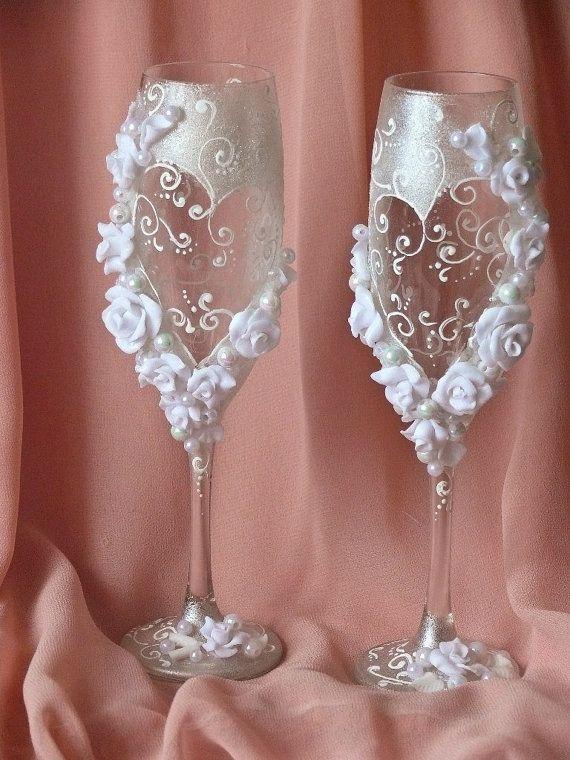 Vidrios de la boda personalizadas a partir de la colección de las flores del arte, de novia blanco