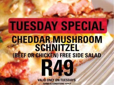 Mikes Kitchen Port Elizabeth - Tuesday Special Cheddar Mushroom Schnitzel
