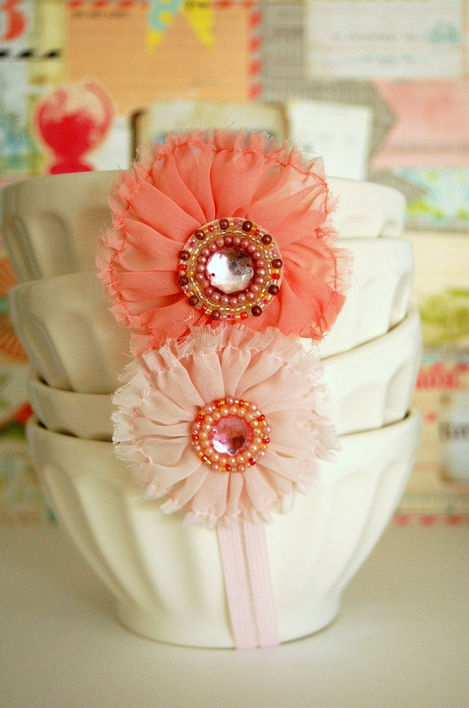 coral pink peach fabric flowers