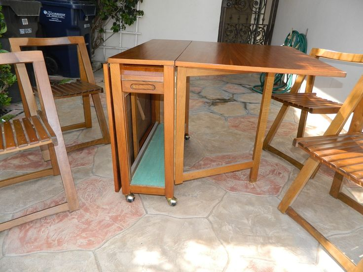 DANISH HIDE AWAY DINING SET 4 FOLDING CHAIRS W CONSOLE TABLE Mid Century