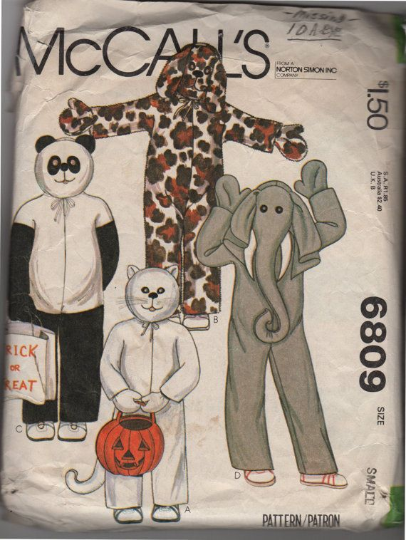 Childrens Vintage, Halloween Costume--McCalls 6809--Cat-- Dog--Panda--Elephant--Child Size Small 4-5--Easy to Sew. See back of envelope for measurements and fabric needed.  This pattern is in very good condition. All pieces are present except for the cats eye (easily replaced by eye pattern for another animal). A few pieces have been carefully cut out. Watch for more sewing items including books, patterns, pattern company handouts, Cooperative Extension and 4-H sewing guides, quilting books…