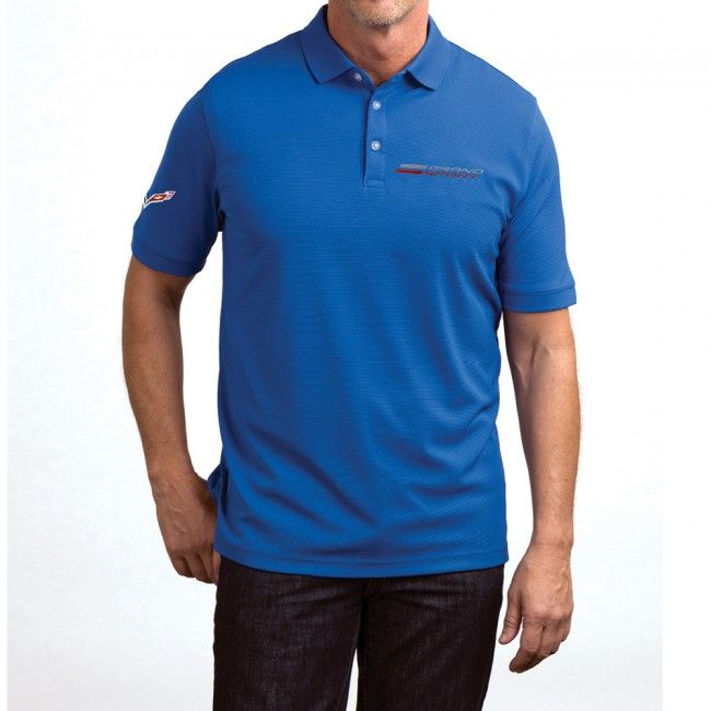 Grand Sport Textured Polo - Blue  Stay comfortable with this 100% polyester textured polo. Opti-Dri technology transfers moisture away to keep you cool and dry. Imported.  SKU: CK2-MP299