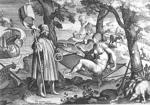 Johannes Stradanus allegory of America. Amerigo Vespucci awakens a sleeping America. Theodor Galle has done a replica after Johannes Stradanus.: Theodore Gall, Vespucci Awakening, Amerigo Vespucci, Johannes Stradanus, American Art, America Engl2362, Gall Nach, Sleep America, Native American