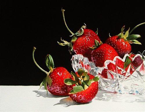 """Strawberries  and  Crystal"" - Original Fine Art for Sale - © Jacqueline Gnott"