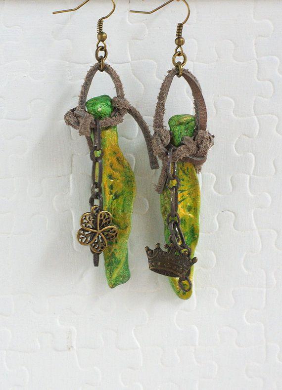 Earrings Dangle Leather Wood Clay Earrings Tribal Art Jewelry Unique OOAK, unique