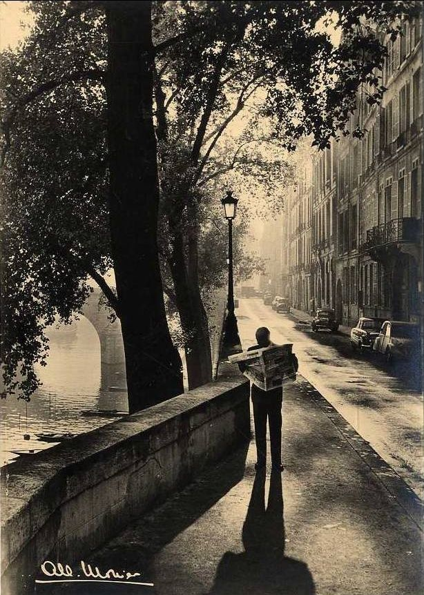 Albert Monier, le quai de Bourbon vers le pont Mari, Paris 1940.