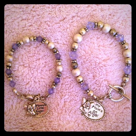 Mother and daughter bracelets Matching bracelets. Sterling silver with purple crystal accent beading. Never worn. Brand new. Jewelry