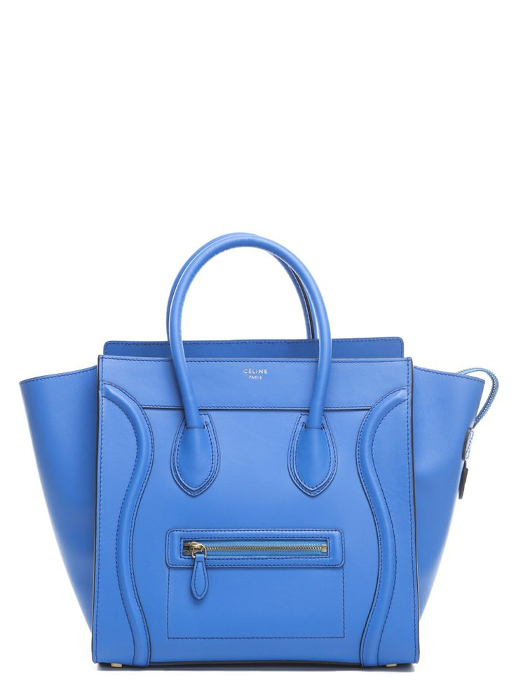 Blue Calfskin Mini Shopper Tote Bag by Celine at Gilt