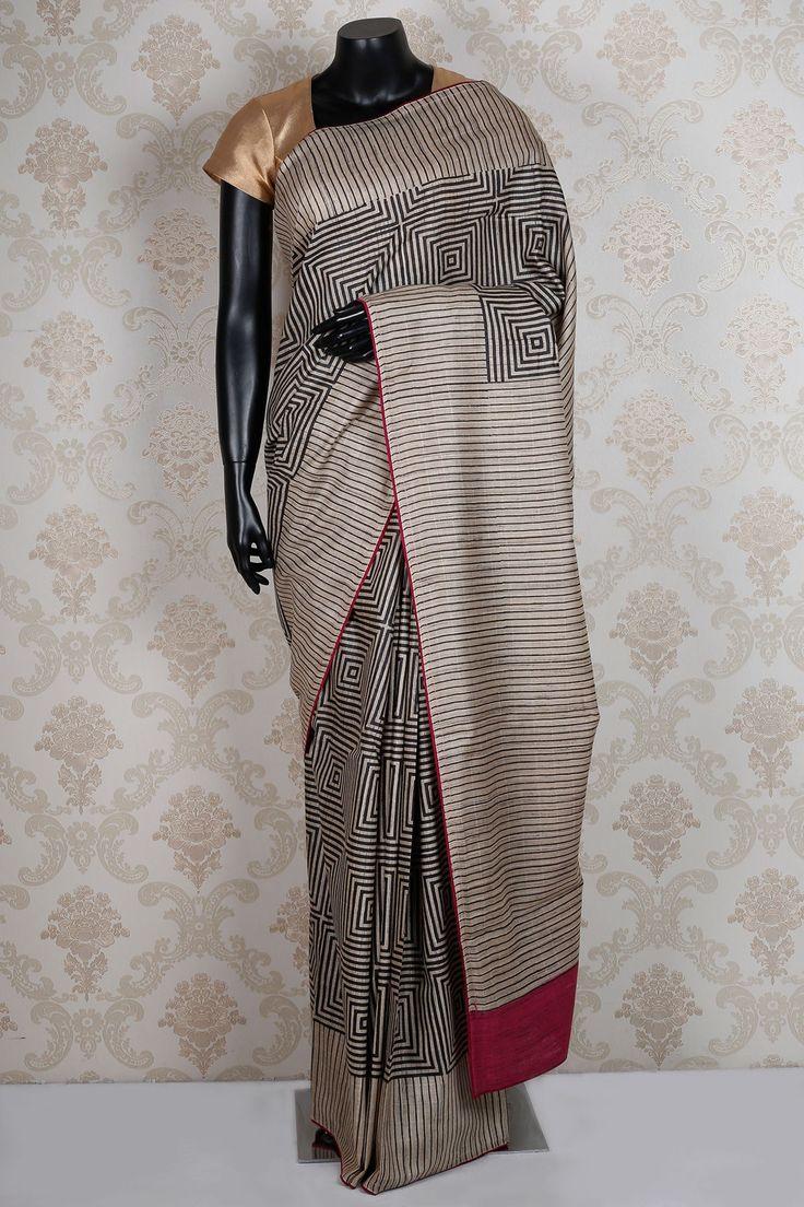 Beige & black pure #tussar silk fine #saree with magenta border -SR13917