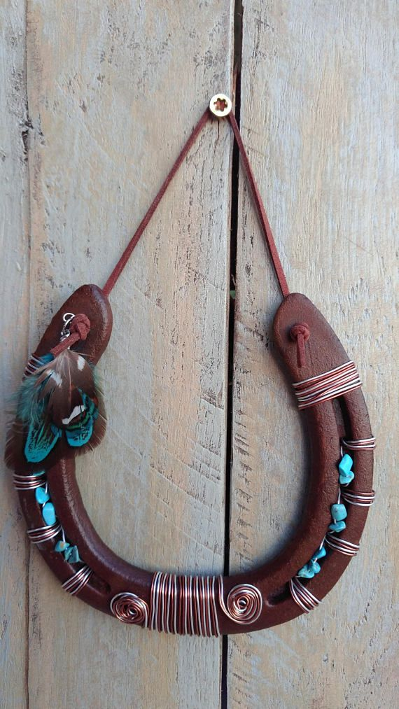 Southwestern Feather Lucky Horseshoe Made With Turquoise Colored
