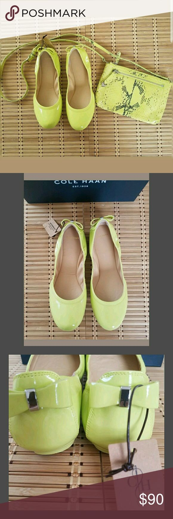 "Cole Haan Manhattan Waterproof Patent Ballet Flats New in Box  Luxe patent leather ballet flat from Cole Haan in a beautiful, vibrant ""spring"" green / lemon-lime color.  Excellent support for all day wear and maximum comfort.  A dainty back bow accents a patent leather ballet flat that's lightweight, waterproof and fully padded.  Leather upper and lining/rubber sole.  Please note that these are a C (wide width) shoe. However, they are known to run narrow/small so they fit a standard/medium…"