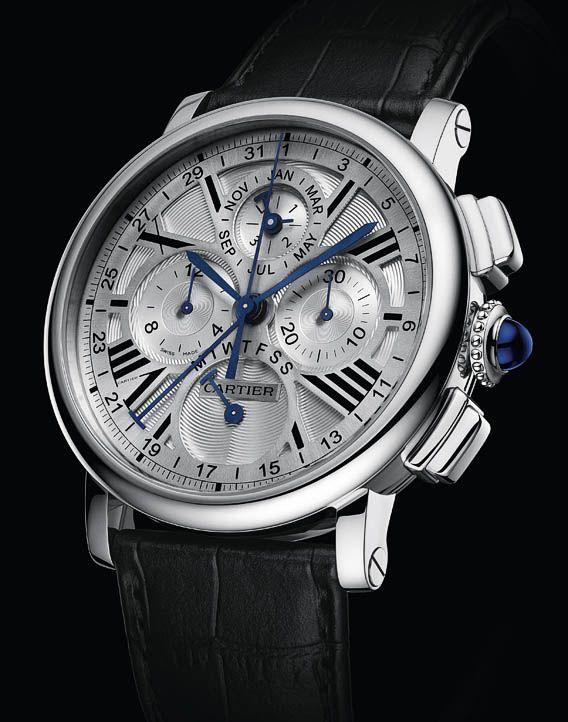 Cartier Rotonde Perpetual Calendar Chronograph White Gold.