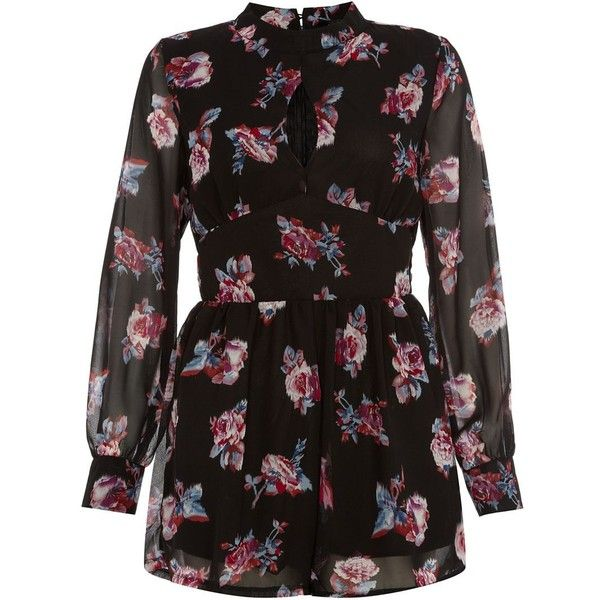 Black Floral Print Long Sleeve Playsuit (110 BRL) ❤ liked on Polyvore featuring jumpsuits, rompers, playsuits / jumpsuits / overalls, bib overalls, going out jumpsuits, floral print romper, floral romper jumpsuit and long sleeve romper
