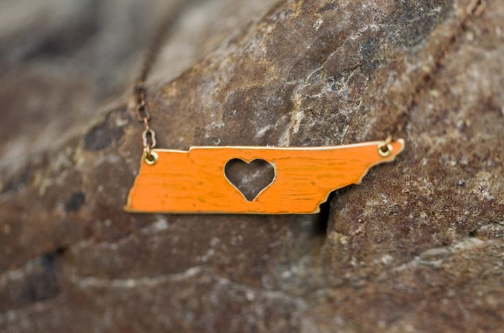 Tennessee State Love Necklace with Heart- Hand Sawn Design, University of Tennessee Orange or Natural Brass- Show your Vol Love. $30.00, via Etsy.