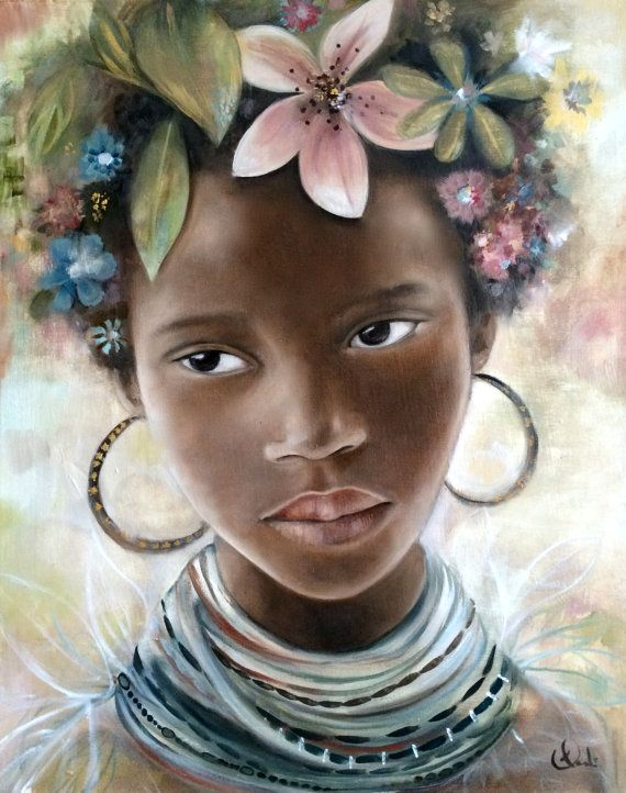 child from africa mursi tribes by PrintIllustrations on Etsy, $20.00