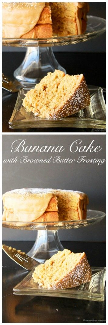 Banana Cake with Browned Butter Frosting on www.cookingwithruthie.com is oh-so-simple to make and tastes amazing!