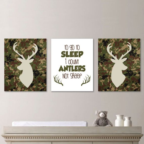 Hey, I found this really awesome Etsy listing at http://www.etsy.com/listing/176292948/camo-deer-head-print-trio-nursery-you