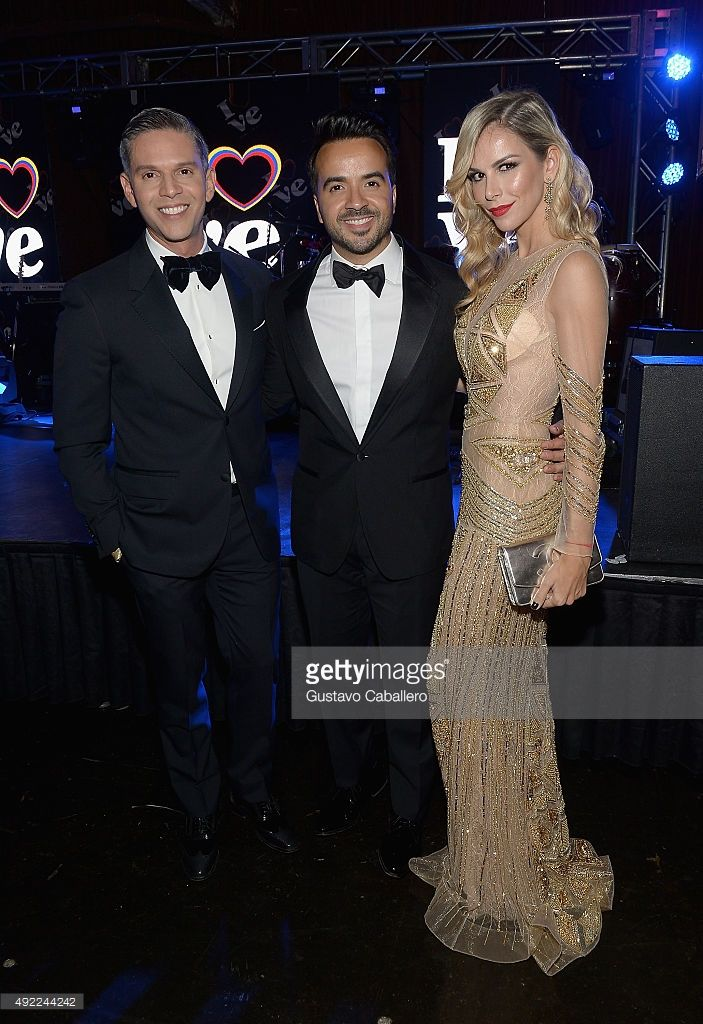 Rodner Figueroa,Luis Fonsi and Agueda Lopez attends the I Love Venezuela Foundation Gala at Ice Palace on October 10, 2015 in Miami, Florida.