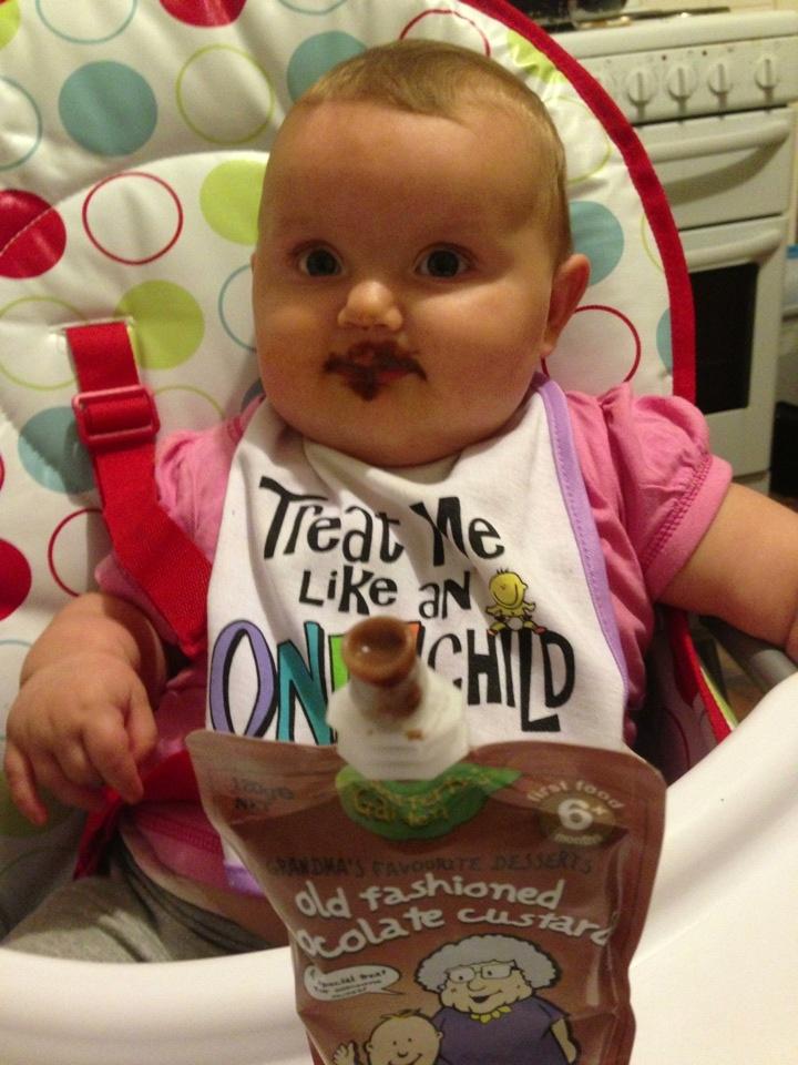 Miss Emil loves the Rafferty's Garden Old Fashioned Chocolate Custard. Isn't she a cutie?! #RaffertysGarden #ChocolateCustard #Baby #bub #instaCute