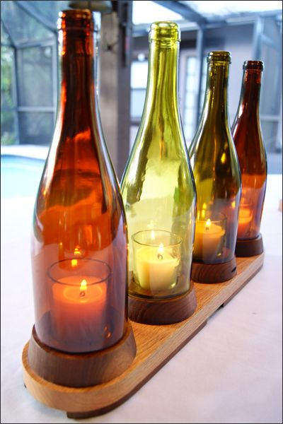 17 best images about table centerpieces on pinterest for How to remove bottom of glass bottle
