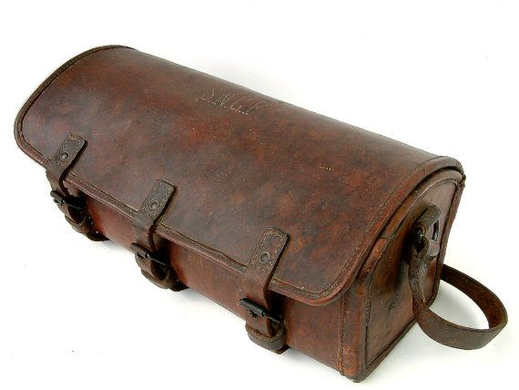 Vintage french SNCF train worker's leather tool bag. by Chanteduc