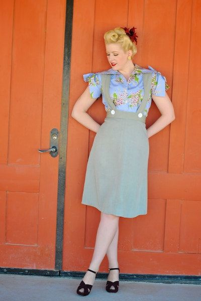 1940s skirt sizes S to XL Swing in Style A line pinafore straps vintage rayon gabardine via Etsy.
