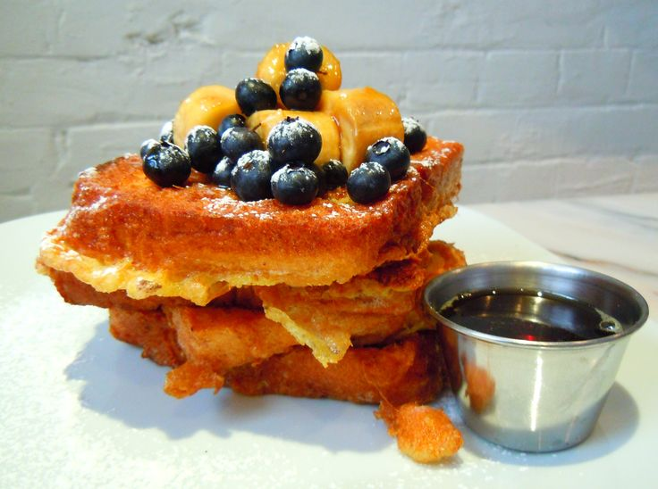 Sweet and delicious caramelized banana and blueberry French toast from Toronto's Wish Cafe & Restaurant.