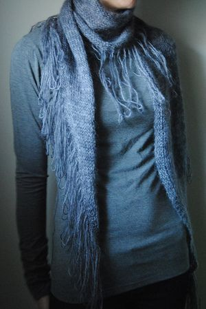 N E P E N T H E - Scarf pattern by Lisa Mutch -   This scarf is slightly asymmetrical, knit from side to side, using light, luxurious yarn, and finishes with the unravelling of it's loop fringe edging. http://www.ravelry.com/patterns/library/nepenthe