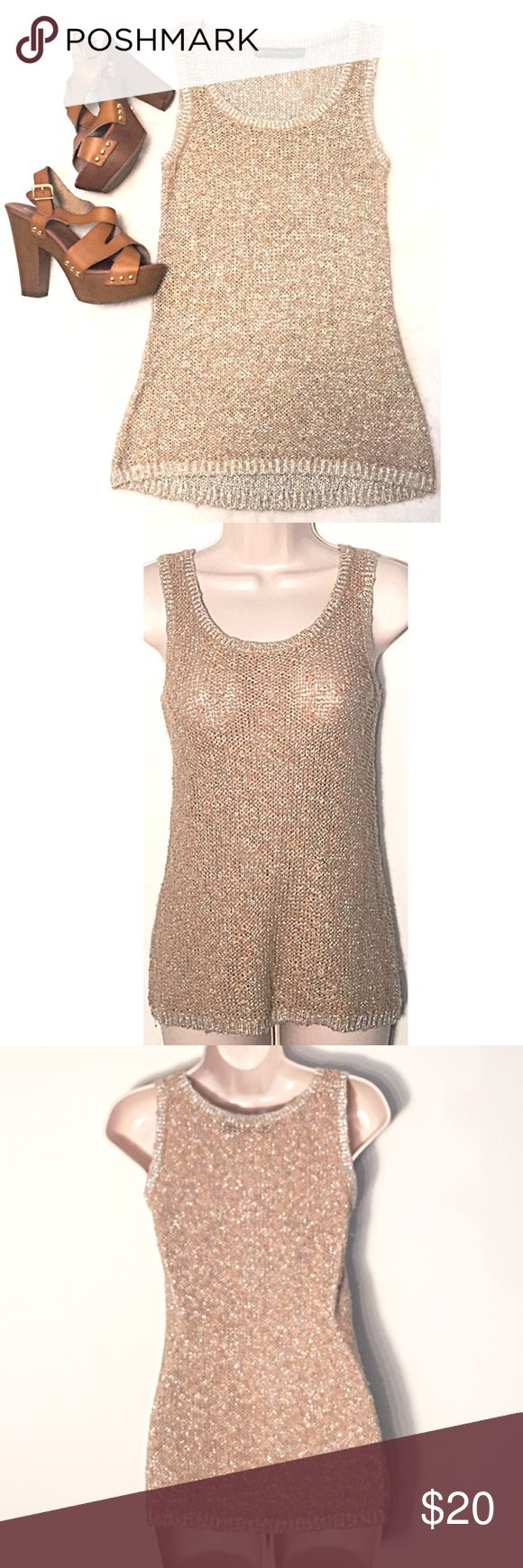 """❣BOGO 1/2 off❣🆕Gorgeous crochet sparkly tank top NWOT, flawless. From The Limited's Outback Red collection. Sparkly silver thread with golden tan distressed yarn. Extra small. Approx 25"""" long & 17"""" flat across bust. ❣Ask me how to BOGO HALF price! ✖️I do NOT MODEL✖️ 🔴Bundle to save! 🔴NO TRADES. 🔴REASONABLE offers welcome via offer button. The Limited Tops Tank Tops"""