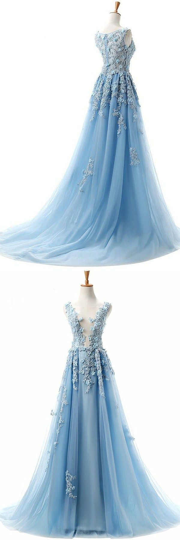 dreamy deep v-neck prom evening gowns, fashion blue formal party dresses.