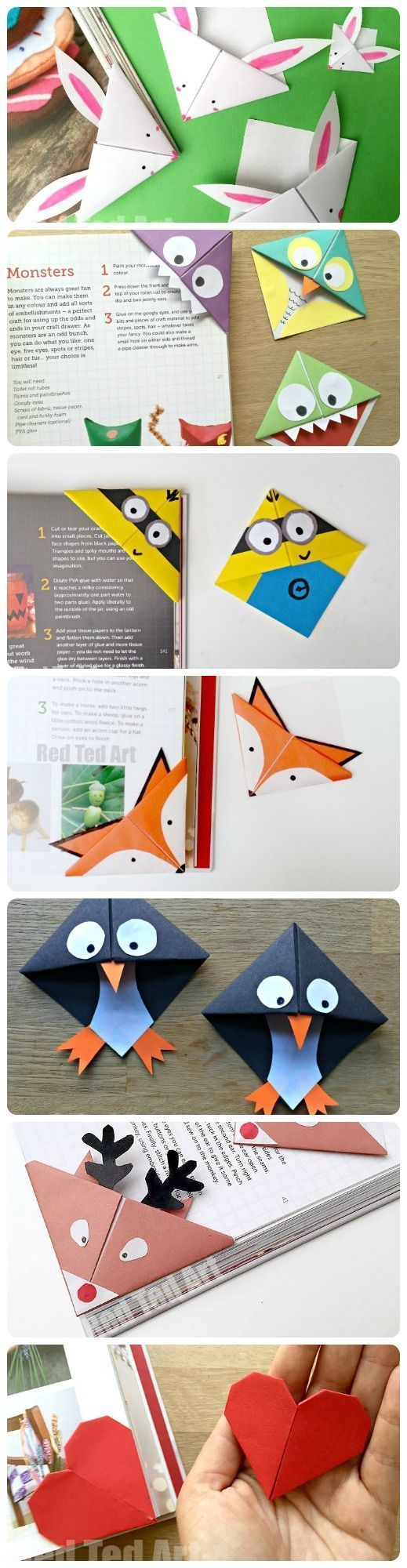 We adore making Bookmarks and these corner bookmarks are GREAT fun to make and give. So many different designs for all seasons - with more to come (check back regularly!!!!). From Bunny Bookmarks for Easter, to Minion Bookmarks for Minion fans. I adore the Monster version too. #artsandcraftsforkidswithpaper,