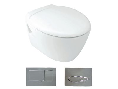 Presqu'ile® Wall Hung Toilet with oval flush button  Features:    Oval flush button panel (bevel version option available)  In wall cistern - fully framed  Dual Flush (6/3L)  P-trap set out: 185mm  Open rim  Back up shut-off valve located on cistern and accessible through the flush button pane