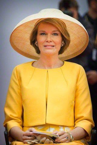 Queen Mathilde, June 18, 2015 in Fabienne Delvigne   Royal Hats
