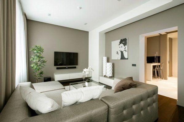 luxus apartment hellgraue Wände und dunkles Eichenholzparkett