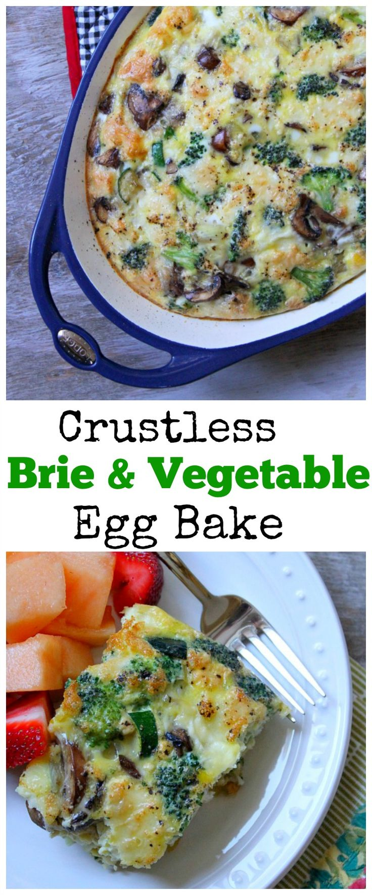 Crustless Brie & Vegetable Egg Bake #breakfast #brunch #recipe